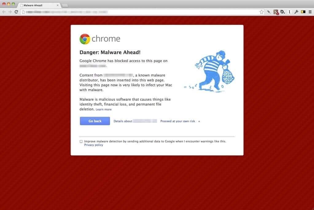 Google Chrome malware waarschuwing